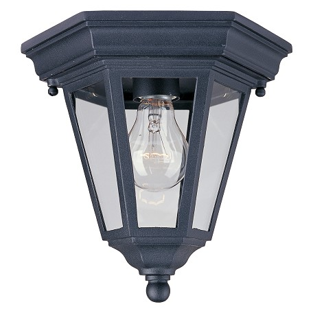 Maxim One Light Black Clear Glass Outdoor Flush Mount