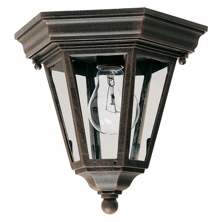 Maxim One Light Rust Patina Clear Glass Outdoor Flush Mount
