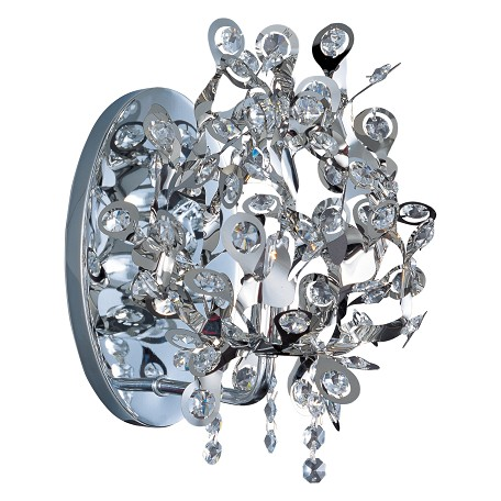Maxim One Light Polished Chrome Beveled Crystal Glass Wall Light