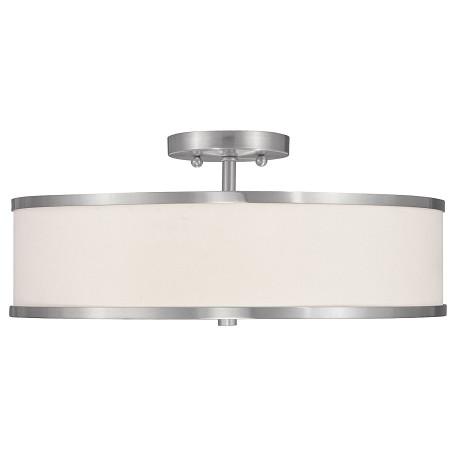Livex Lighting Brushed Nickel Drum Shade Semi-Flush Mount ...