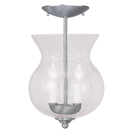 Livex Lighting Brushed Nickel Framed Glass Foyer Hall Fixture