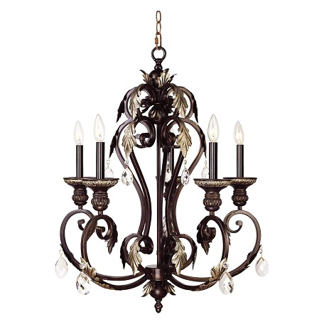 Livex Lighting Hand Rubbed Bronze With Antique Silver Accents Up Chandelier