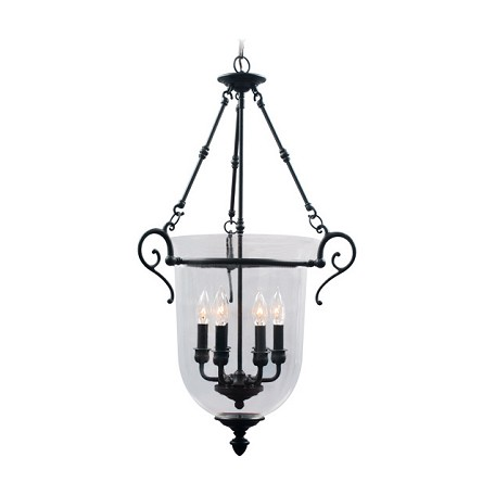 Livex Lighting Bronze 6 Light 360W Foyer Pendant With Candelabra Bulb Base And Clear Glass
