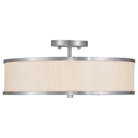 Livex Lighting Brushed Nickel Drum Shade Semi-Flush Mount