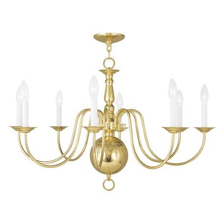 Livex Lighting Eight Light Polished Brass Up Chandelier