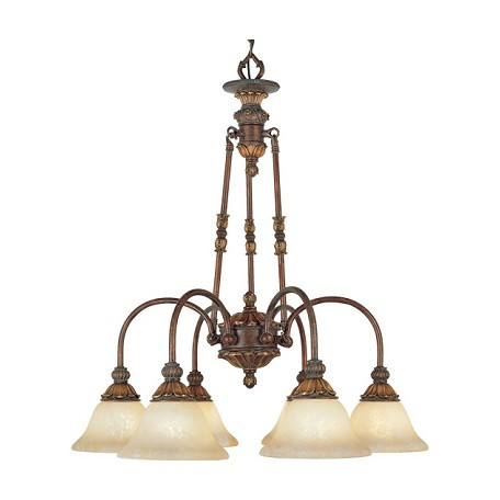 Livex Lighting Crackled Greek Bronze With Aged Gold Accents Down Chandelier