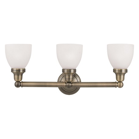 Livex Lighting Antique Brass Classic 3 Light Bathroom Vanity Light Antique Br