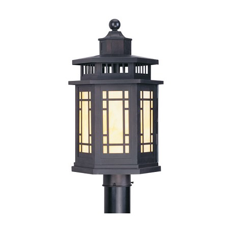 Livex Lighting Bronze 1 Light 150W Post Light With Medium Bulb Base And Tiffany Art Glass