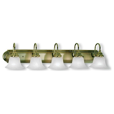Livex Lighting Antique Brass Belmont 5 Light Bathroom Vanity Light