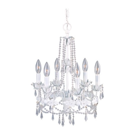 Livex Lighting Antique White 6 Light 360W Chandelier With Candelabra Bulb Base