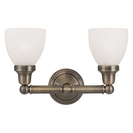 Livex Lighting Antique Brass Classic 2 Light Bathroom Vanity Light