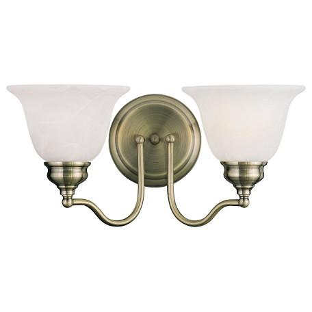 Livex Lighting Antique Brass Essex Bathroom Vanity Bar With 2 Lights Antique Brass 1352 01 From