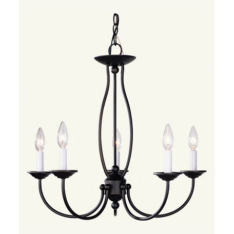 Livex Lighting Bronze 5 Light 300W Chandelier With Candelabra Bulb Base From Home Basics Series