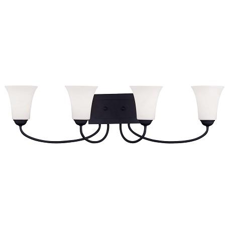 Livex Lighting Black Ridgedale Bathroom Vanity Bar With 4 Lights Black 6484-04 From Ridgedale ...