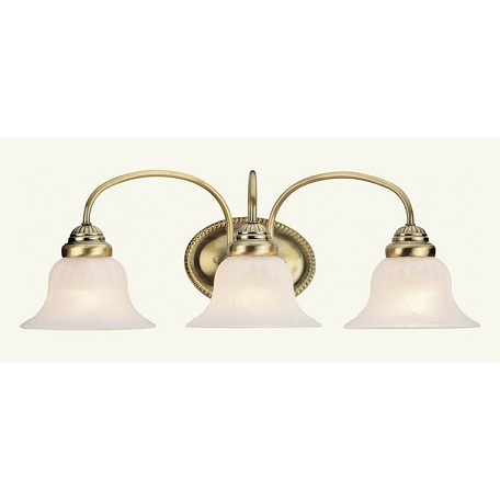 Bathroom Vanity Lights Antique Brass : Livex Lighting Antique Brass Edgemont Bathroom Vanity Bar With 3 Lights Antique Brass 1533-01 ...