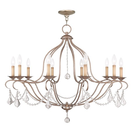 Livex Lighting Ten Light Antique Silver Leaf Up Chandelier