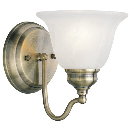 livex lighting antique brass essex bathroom wall sconce