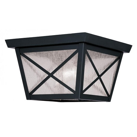 Livex Lighting Black Montgomery Outdoor Flush Mount Ceiling Fixture With 2 Lights