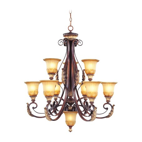 Livex Lighting Verona Bronze 9 Light 540W Chandelier With Medium Bulb Base And Rustic Art Glass