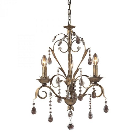 ELK Lighting Three Light Weathered Silver Up Chandelier