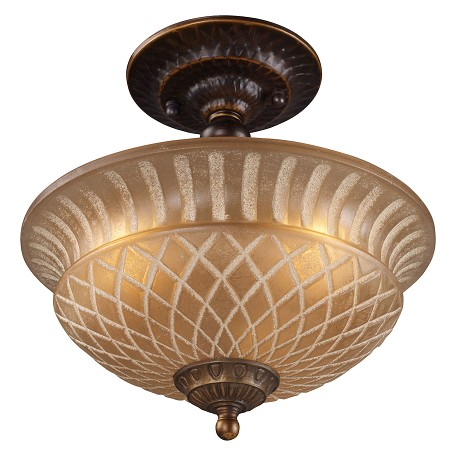 ELK Lighting Three Light Golden Bronze Bowl Semi-Flush Mount