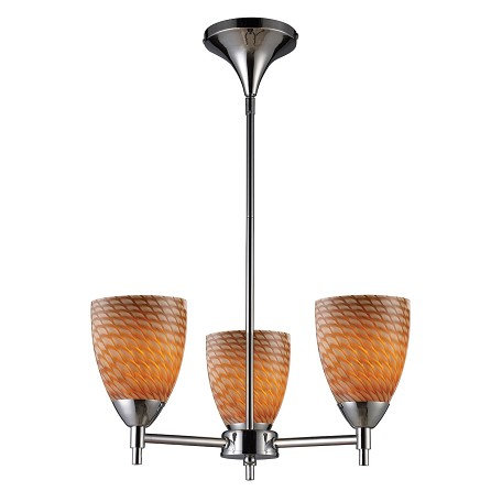 ELK Lighting Three Light Polished Chrome Coco Glass Up Chandelier