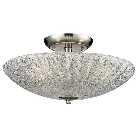ELK Lighting Three Light Satin Nickel Bowl Semi-Flush Mount