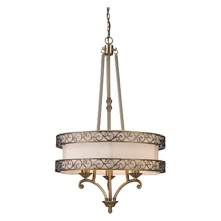 ELK Lighting Three Light Antique Brass Drum Shade Chandelier