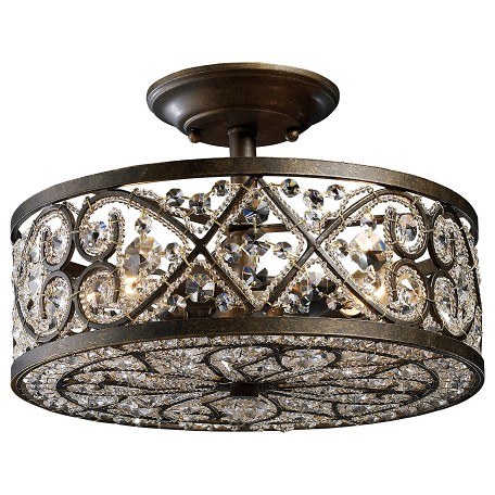 Elk Lighting Four Light Antique Bronze Drum Shade Semi