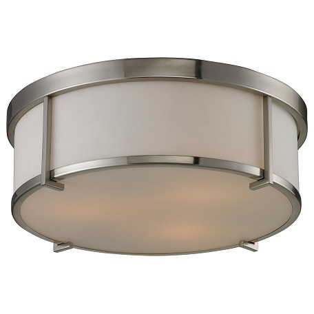 ELK Lighting Three Light Brushed Nickel Drum Shade Flush Mount