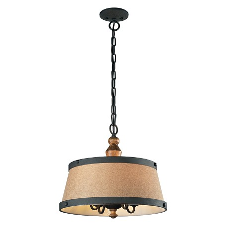ELK Lighting Four Light Vintage Rust Drum Shade Chandelier