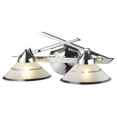 ELK Lighting Two Light Polished Chrome Etched Clear Glass Vanity
