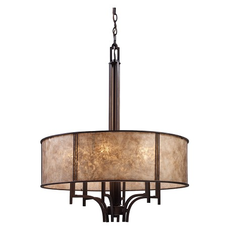 ELK Lighting Six Light Aged Bronze Tan Mica Shade Drum Shade Chandelier