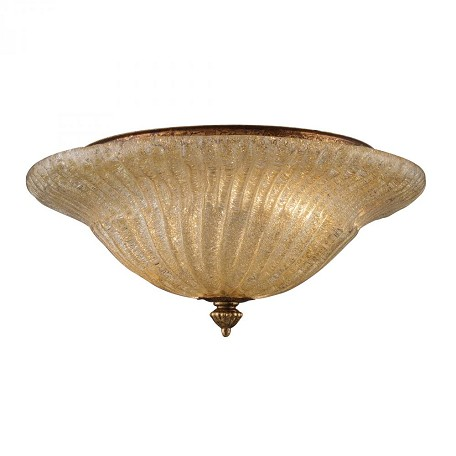 ELK Lighting Two Light Antique Gold Leaf Bowl Semi-Flush Mount