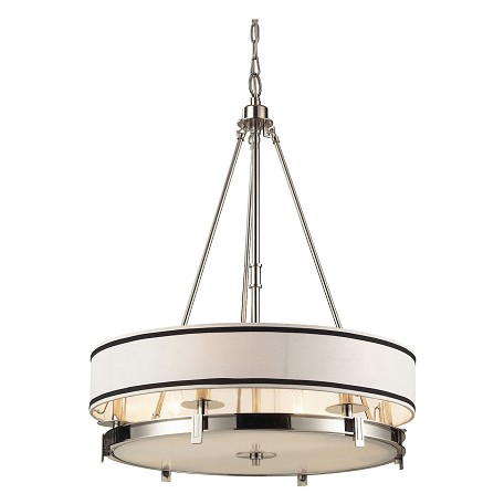 ELK Lighting Six Light Polished Nickel Drum Shade Pendant