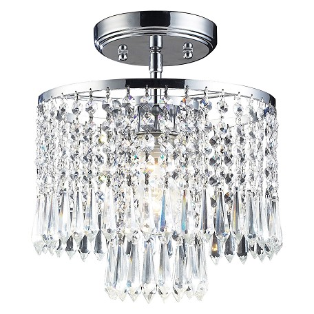 ELK Lighting One Light Polished Chrome Drum Shade Semi-Flush Mount