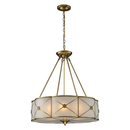 ELK Lighting Six Light Brushed Brass Drum Shade Pendant