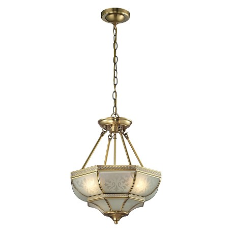 ELK Lighting French Damask Collection 3 Light Pendant In Brushed Brass