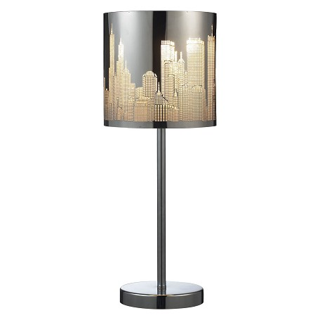 ELK Lighting Skyline 1-Light Portable Lamp In Polished Stainless Steel
