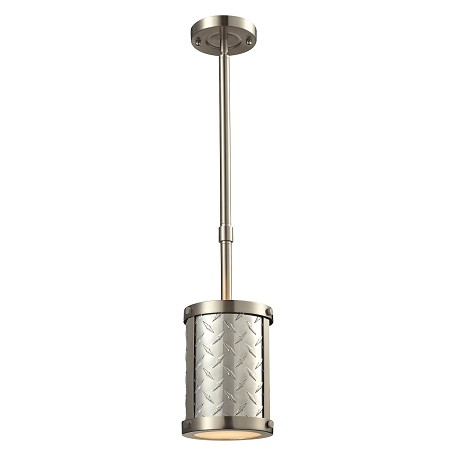 ELK Lighting Diamond Plate Collection 1 Light Mini Pendant In Brushed Nickel