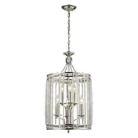 ELK Lighting Aubree Collection 3+3 Light Pendant In Polished Nickel