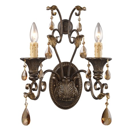 ELK Lighting Two Light Weathered Mahogany Ironwork Wall Light