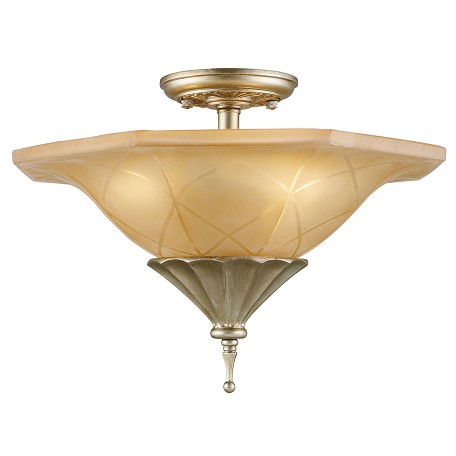 ELK Lighting Three Light Aged Silver Bowl Semi-Flush Mount