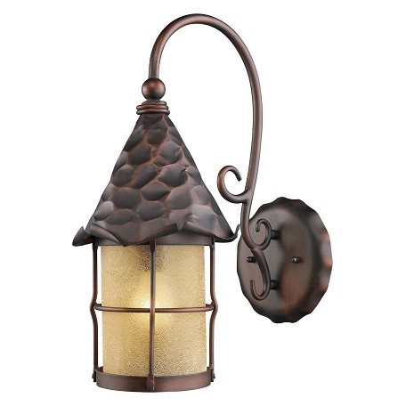 ELK Lighting One Light Antique Copper Amber Scavo Glass Wall Lantern