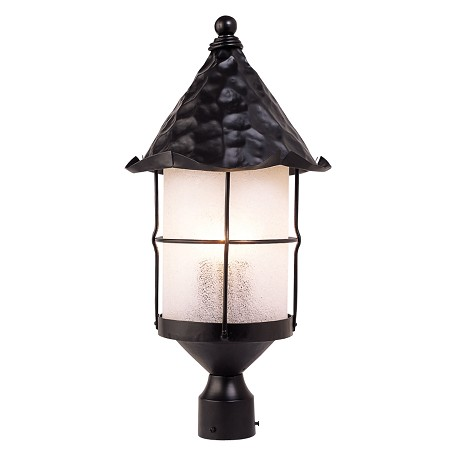 ELK Lighting Three Light Matte Black Scavo Glass Post Light