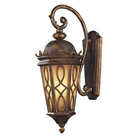 ELK Lighting Three Light Hazlenut Bronze Amber Scavo Glass Wall Lantern