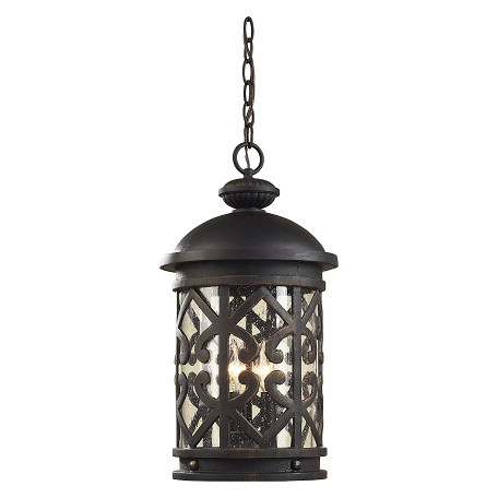 ELK Lighting Three Light Weathered Charcoal Clear Seeded Glass Hanging Lantern
