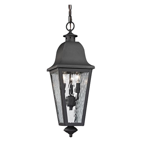 ELK Lighting Forged Brookridge Collection 3 Light Outdoor Pendant In Charcoal