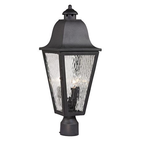 ELK Lighting Forged Brookridge Collection 3 Light Outdoor Post Light In Charcoal