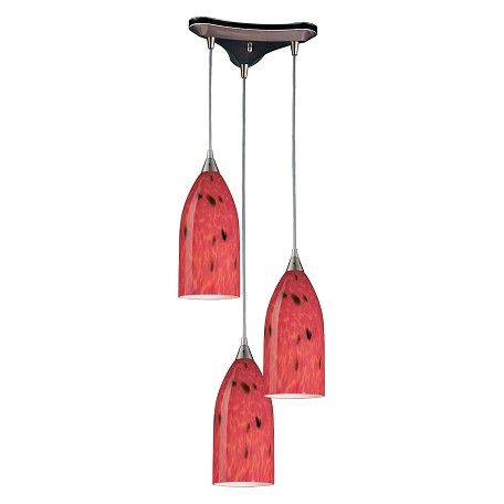 ELK Lighting Three Light Satin Nickel Fire Red Glass Multi Light Pendant